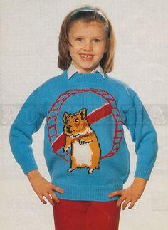 vintage Adult & Childs HAMSTER jumper knitting by borisbeka, $4.00