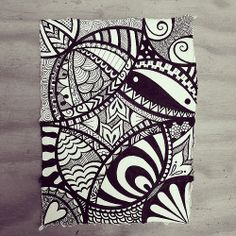 Indian Rag paper zen doodle using micron fineliners. by Wealie, via Flickr
