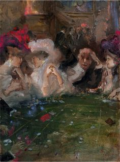 Mariani Pompeo (b. Monza, Italy, 1857-1927) - At the Casino