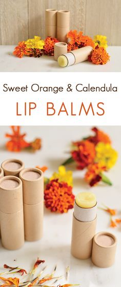 Sweet Orange & Calendula Lip Balm | A sweetly scented lip balm recipe made with soothing calendula.