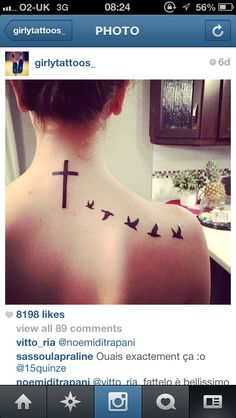 Cross tattoo, birds back, neck, tattoo
