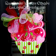 Valentine Cupcake Door Hanger, The Rose Garden Valentine Cupcake via Etsy