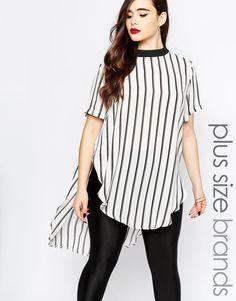 Image 1 ofBoohoo Plus Stripe Split Side Tunic