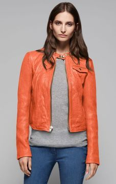 theory lambskin leather jacket in a punch color