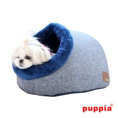 Puppy Witta Cave Dog Bed ~ Stunning herringbone fabric with removable pillow ~ Includes matching bone shaped dog toy | The New York Dog Shop