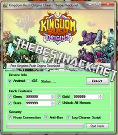 Kingdom Rush Origins Hack Tool, Cheat Engine  Hello all viewers description of the new application. I have to present a very useful tool for mobile game Kingdom Rush Origins .   #Android Kingdom Rush Origins Hack #Cheat Kingdom Rush Origins #Hack Kingdom Rush Origins #Hack Kingdom Rush Origins Android #Hack Kingdom Rush Origins iOS #how to cheat Kingdom Rush Origins #how to hack Kingdom Rush Origins #iOS Kingdom Rush Origins #iOS Kingdom Rush Origins Hack #iPad Kingdom Rus