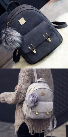 9b62063d025c Women s Accessories - How nice backpack ! Fashion Frosted PU Zippered  School Bag With Metal Lock Match Backpack - Clothing