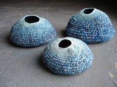 sophie buckley crochet vessels Contemporary Sculpted Textiles of Sophie Buckley Freeform Crochet, Crochet Art, Crochet Home, Crochet Patterns, Tapestry Crochet, Textile Sculpture, Textile Fiber Art, Soft Sculpture, Fibre Art