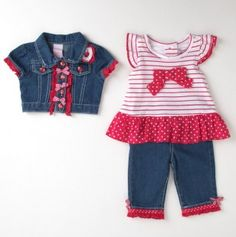 Infant Girls' Polka Dot Baby Doll Top and Pant Set