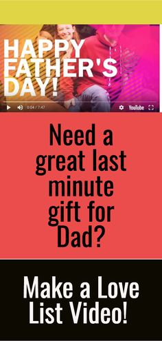If you have a smart phone or video camera and 15 minutes, you can make an amazing, he-will-love-it-forever gift for Dad. Love List gifts are the best! Make You Cry, How To Make, Love List, Dad Day, Last Minute Gifts, Video Camera, Happy Fathers Day, Creative Gifts, Gifts For Dad