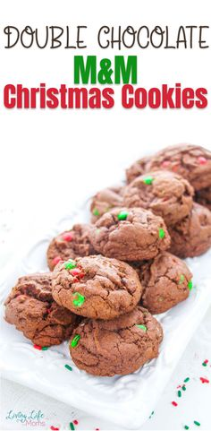 These Double Chocolate M&M Christmas Cookies are so delicious and simple to make! Perfect for Christmas cookies or a great gift idea to share with family and friends! The perfect holiday treat to share with guests. Best Homemade Cookie Recipe, Delicious Cookie Recipes, Easy Cookie Recipes, Healthy Dessert Recipes, Candy Recipes, Christmas Cookies Kids, Easy Holiday Cookies, Cookies For Kids, Yummy Cookies