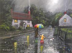 PETE-RUMNEY-FINE-ART-BUY-ORIGINAL-ACRYLIC-OIL-PAINTING-EXPLORING-IN-THE-RAIN