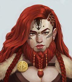 f Dwarf Ranger Medium Armor Cloak Brooch portrait female beard  med