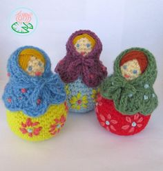 de belles couleurs, de jolies Amigurumi Mini Matryoshka  PDF Pattern Digital par tomacreations, $3.55