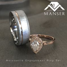 His: titanium base ring with rose gold inlay. Hers: moissanite centre with diamond detailing set in rose gold. Moissanite Rings, Centre, Wedding Rings, Rose Gold, Base, Engagement Rings, Jewels, Detail, Diamond