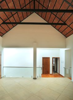 Play of volumes Tropical Houses, Kerala, House Design, Ceiling Lights, Interiors, Play, Lighting, Inspiration, Home Decor