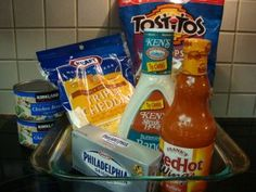 Buffalo Chicken Dip Ingredients. I love this dip except I make mine on the stovetop by heating chicken & hot sauce, adding cream cheese and ranch the part of the cheese and topping w remaining cheese after mixed and hot. A huge crowd pleaser