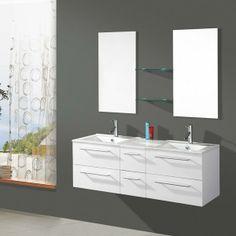 Salle de bain complète double vasque Blanche OCELIA - Maison Facile : www.maison-facile.com