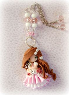 doll necklace #Polymerclay #fimo #jewerly