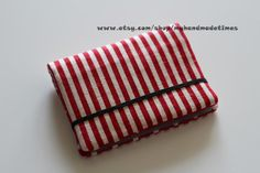 Card Holder Credits Cards Holder Business Cards Holder - Red and white Stripes