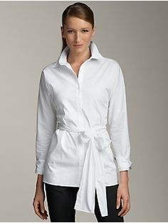 Tailored Crisp White Cotton Button-down Tunic Shirt with Side ...