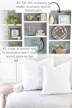 SUPER helpful tips for decorating shelves and bookcases!! #bookcase #shelves #decorating
