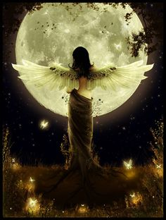 Image shared by Find images and videos about moon, angel and fantasy on We Heart It - the app to get lost in what you love. Angels Among Us, Angels And Demons, Male Angels, Fantasy Kunst, Fantasy Art, Fantasy Women, Stars Night, Image Blog, I Believe In Angels