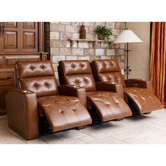 Andria 3-piece Top Grain Leather Power Media Recliners - Camel  sc 1 st  Pinterest & $2699. McKay 3-piece Leather Power Media Recliners - Brown ... islam-shia.org