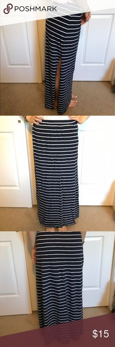 Navy white striped maxi skirt side slit Navy maxi skirt with white stripes. Long slit on right leg side. Hollister size small. Hollister Skirts Maxi