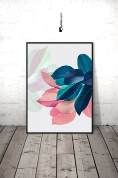 Pink Leaves Wall Art, Housewarming Gift, Pastel Pink and Blue, Girlfriend Printable Gift, Modern Plant Print, Tropical Leaf Printable Poster  ❤ Enjoy 30% saving when you purchase 3 or more prints, enter code SAVE30 at checkout.  IF YOU NEED A SPECIFIC SIZE, please request a custom order and I will gladly do it for you :) There is no extra cost!  ++++++++++++++++++ YOU WILL RECEIVE: 4 JPG high quality digital files (RGB) ready for printing {Resolution: 300 dpi} and 1 Instruction sheet. ► 2:3…