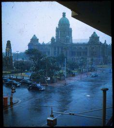 Durban city hall, 1953 News South Africa, Durban South Africa, Kwazulu Natal, City Lights, East Coast, Taj Mahal, Old Things, Louvre, Country