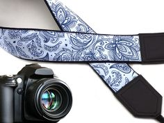 Amazon.com : Camera strap blue and white. Ornaments. Abstract flowers. Paisley. Crossbody strap DSLR / SLR by InTePro. code 00283 : Electronics