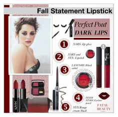 """""""Fall Statement Lipstick!!!"""" by alves-nogueira ❤ liked on Polyvore featuring beauty, Bobbi Brown Cosmetics, NARS Cosmetics, NYX, Lancôme, Alexander Wang and Blinc"""