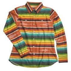 Walls Women's Serape Stripe Shirt- gorgeous colors!