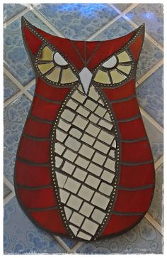 Mosaic red owl by Meaco's Art Garden