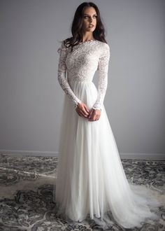 """If the words """"gorgeous long sleeve wedding dress"""" set your heart racing, you're in for a treat. Find your perfect long-sleeve wedding dress! Long Wedding Dresses, Bridal Dresses, Wedding Gowns, Party Dresses, Vintage Boho Wedding Dress, Lace Weddings, Tulle Wedding, Online Wedding Dresses, Long Sleave Wedding Dress"""