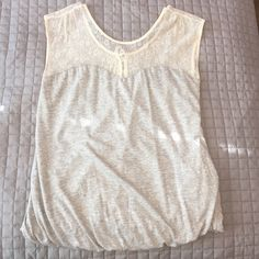 Forever 21 Bubble, Sweethearts Top Forever 21 grey bubble top with a sweethearts neckline for the chest but fully covering your shoulders with cream lace in a size medium. Forever 21 Tops Blouses