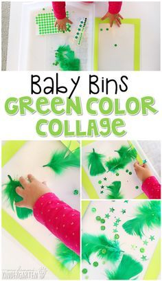 This green color collage is great for learning the color green and it is a completely baby safe craft. Plus there's no glue required so no sticky mess or glue eating to clean up! Baby Bins are perfect for learning with little ones between months old. Color Activities For Toddlers, Lesson Plans For Toddlers, Preschool Colors, Preschool Lesson Plans, Spring Activities, Infant Activities, Learning Activities, Preschool Ideas, Toddler Arts And Crafts