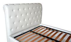 Tablie Pat fixa tapitata in Piele Ecologica Alba accesorizata cu butoni imbracata cu burete curbat de 50 mm vedere laterala