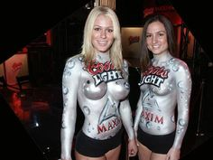 The miller twins (lol) with Coors Light Body Paint