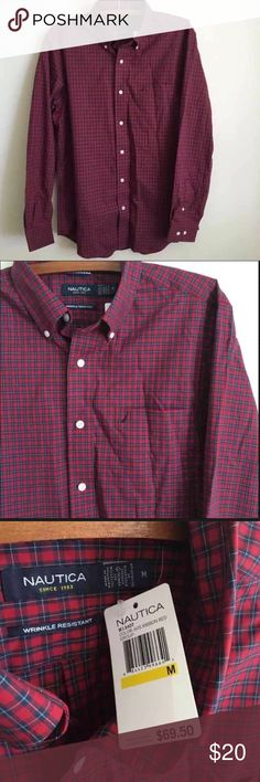 Men's Nautica Button Up; Plaid Men's size medium. New with tags. Perfect condition! Nautica Shirts Casual Button Down Shirts