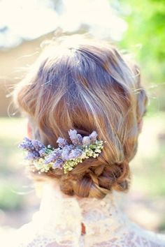 Wedding Updo with Lavender | #BeautifulHair | #Weddings | Jen Rios Design