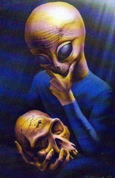 Art by Boros Attila - Alien Thinker Alien Gris, Aliens And Ufos, Ancient Aliens, Funny Illustration, Illustrations, Paranormal, Art Alien, Peter Max Art, Native American Quotes