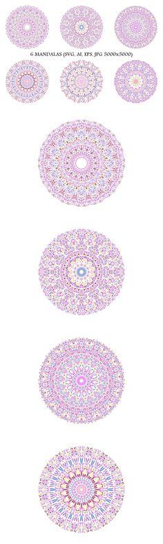6 Floral Mandalas #vector #floral #decorative #template #behance #logo #DecorativeGraphic #yoga #decorations #mandala #graphics #design #love #mysticism #illustration #GraphicDesign Bohemian Art, Bohemian Design, Square Patterns, Flower Patterns, Mandala Design, Mandala Art, Floral Design, Graphic Design, Boho Designs