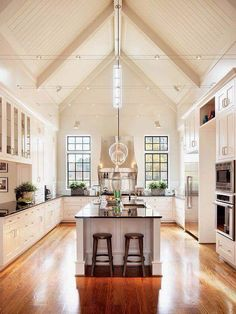 Nice open kitchen space!! I'm kinda liking the stove between the windows...