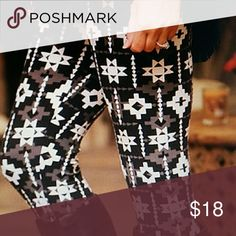 Great Designer Print Leggings Brand New These have a unique pattern Very soft fabric. One Size  fits all. These fit up to a large Pants Leggings