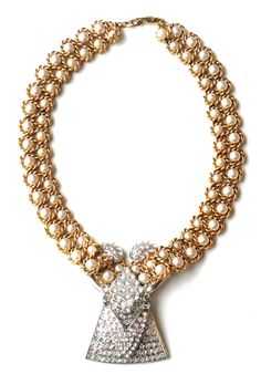 Braided Vermeil Links and Mock Pearl, Art Deco Fan and Pendulum. Art Decor, Pearl Necklace, Jewelry Design, Pearls, Diamond, String Of Pearls, Beads, Pearl Necklaces, Diamonds