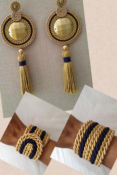 Trend in Earrings with Mota 2019 Rope Jewelry, Thread Jewellery, Soutache Jewelry, Fabric Jewelry, Leather Jewelry, Jewelry Crafts, Beaded Jewelry, Jewelery, Handmade Jewelry