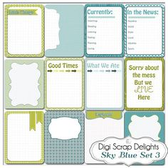 Sky Blue Set 3 12 Journal Cards 3x4 Project by DigiScrapDelights Bundle of 60 Cards also avaialble