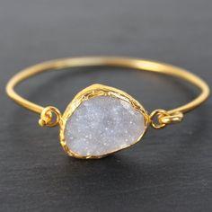 Old San Juan Bracelet - 24k Gold Dipped Iridescent White Druzy Crystal – MeiElizabeth